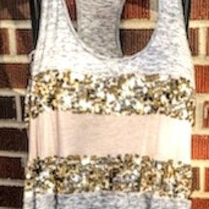 Express racer back tank with shimmer